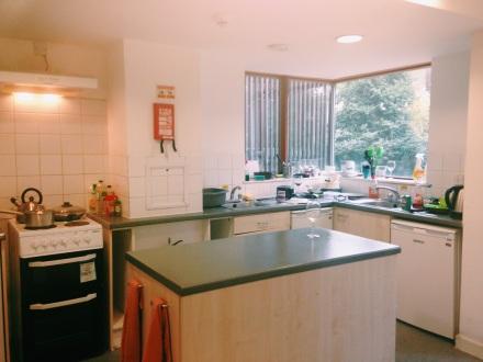 Nossa cozinha comunitária - aquela taça de vinho branco, claro, é minha
